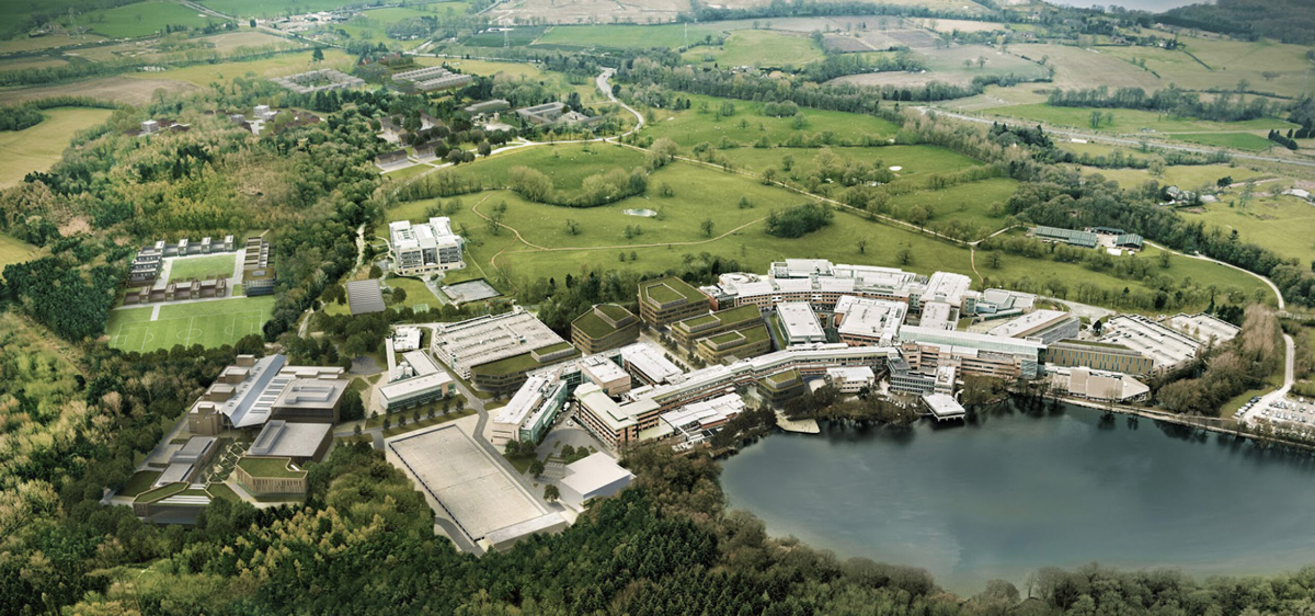 Aerial overview of Alderley Park, current home to the Cancer Research UK Manchester Institute