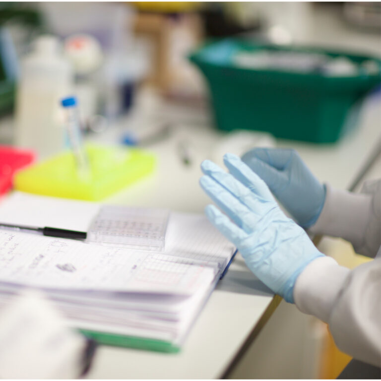 Researcher analysing samples