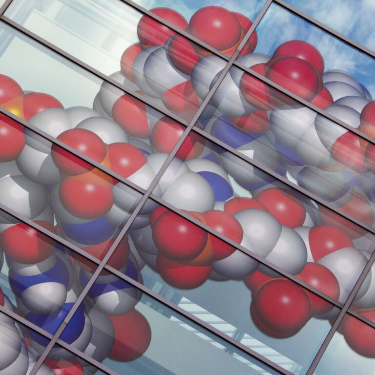 DNA molecule on the Michael Smith building at University of Manchester