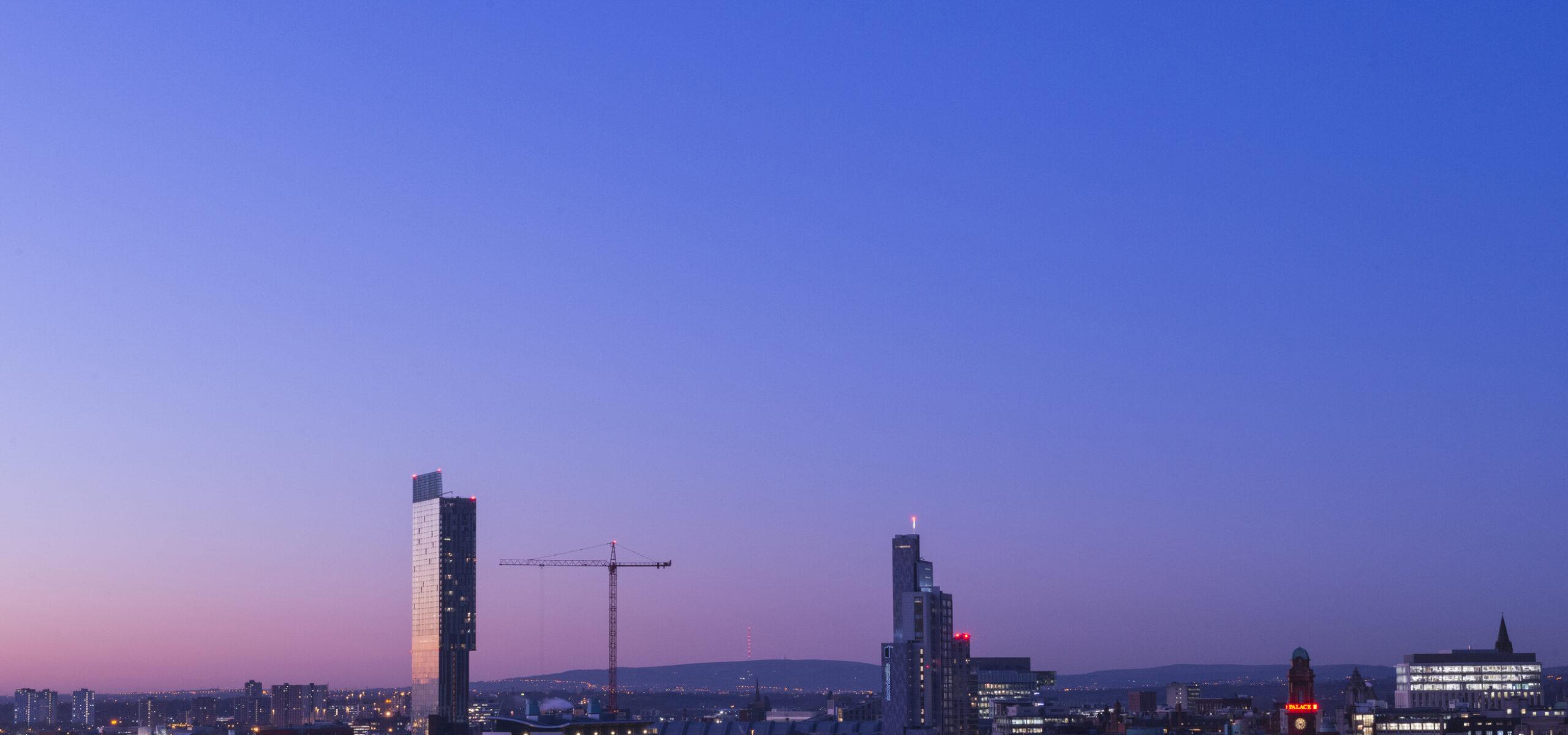 Manchester skyline in twilight