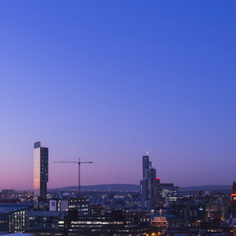 Manchester skyline in twilight