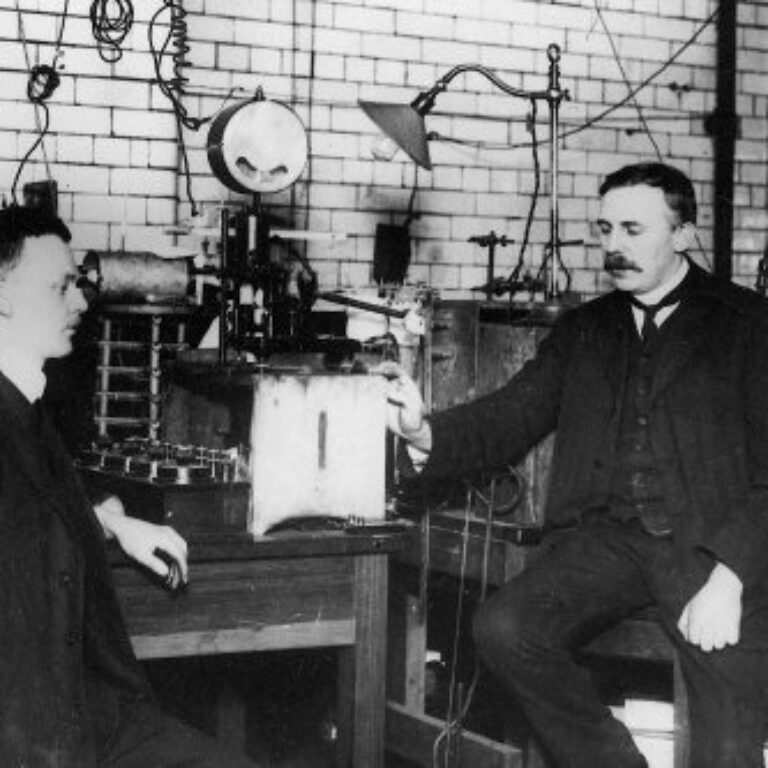 Ernest Rutherford and Hans Geiger