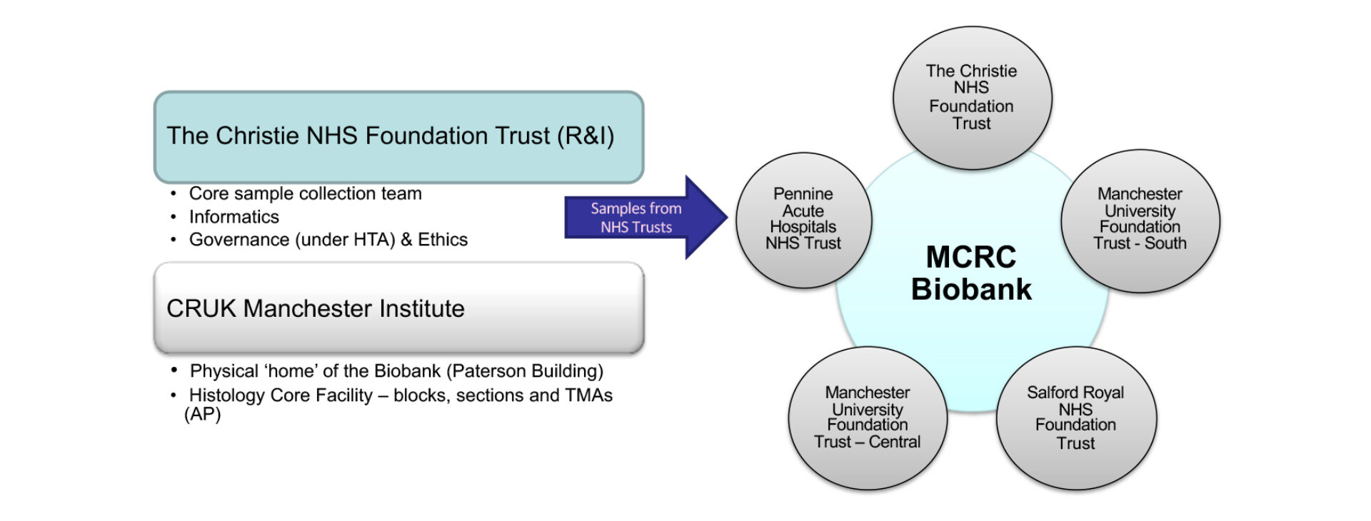 Operations of the MCRC biobank, with samples from The Christie stored in the biobank for use in the five other Biobank trusts.
